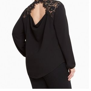 Torrid Black Crepe Lace Back Top